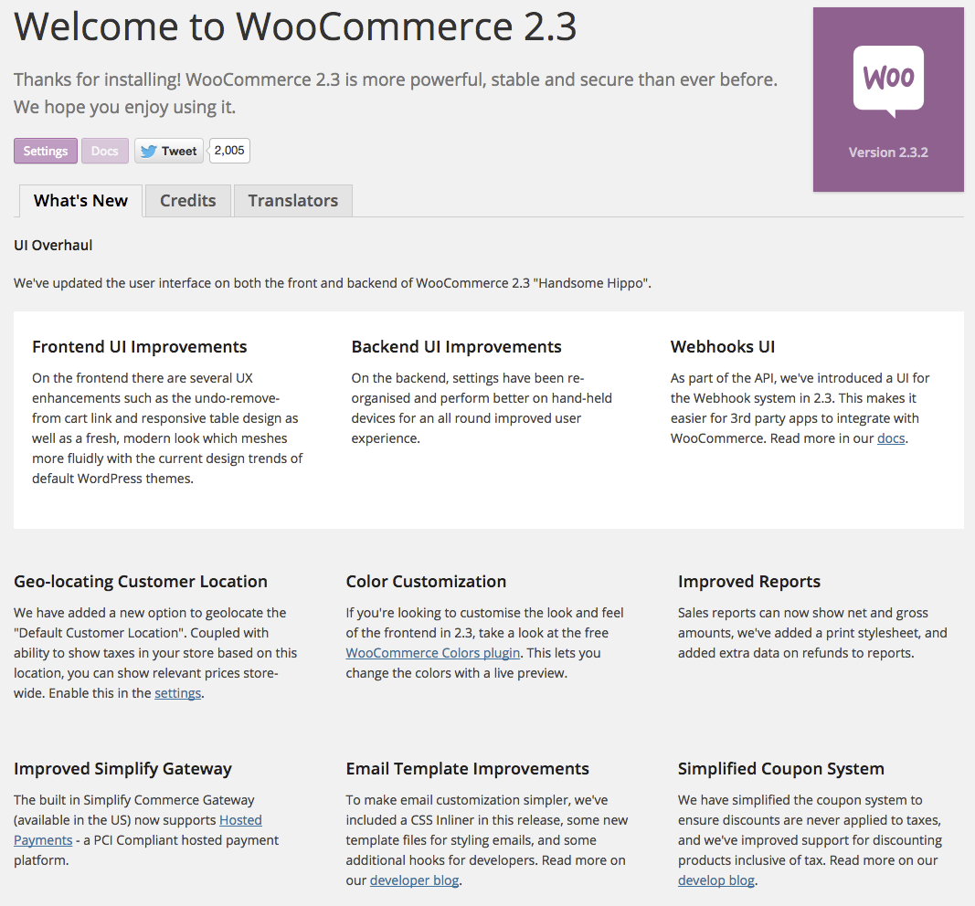 WooCommerce 2.2 About Screen
