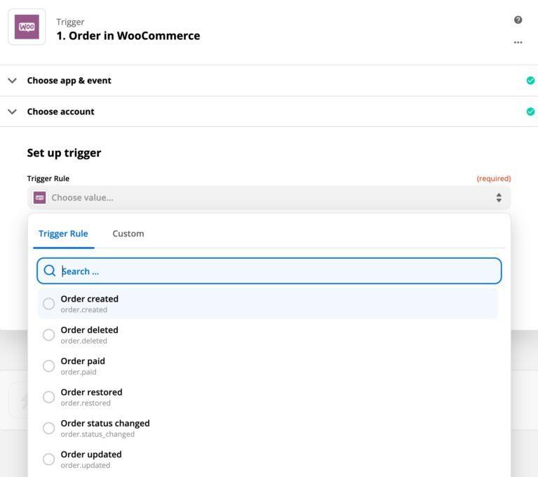 WooCommerce Zapier Order Trigger Rules
