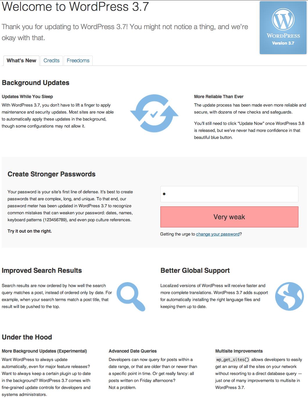 WordPress 3.7 About Screen