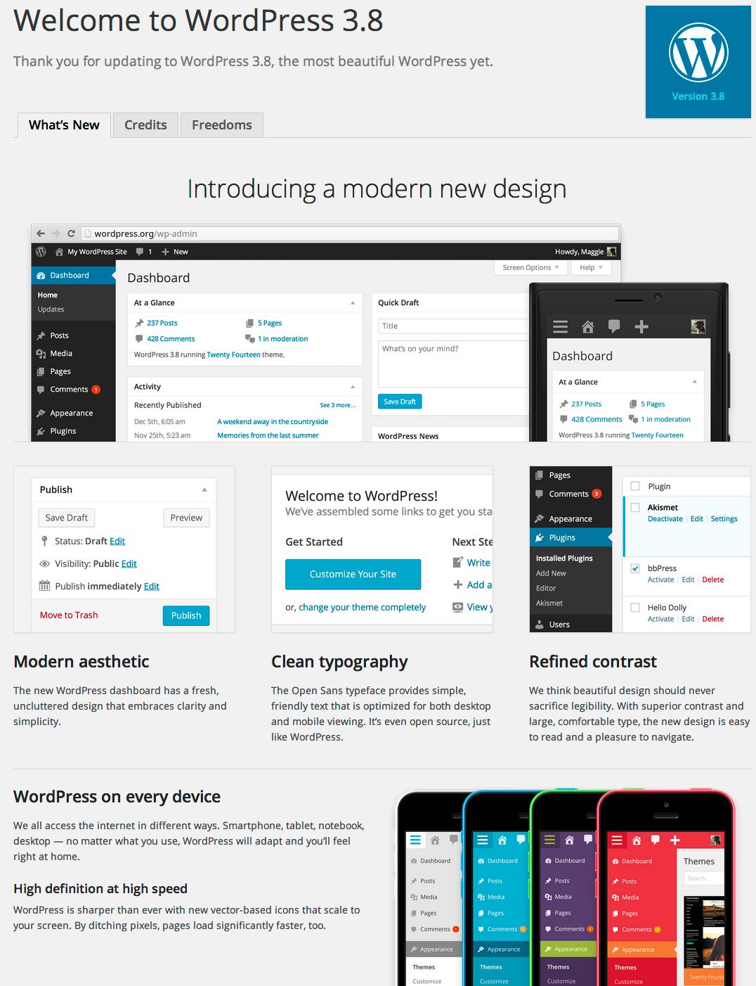 Screenshot of the WordPress 3.8 About Screen