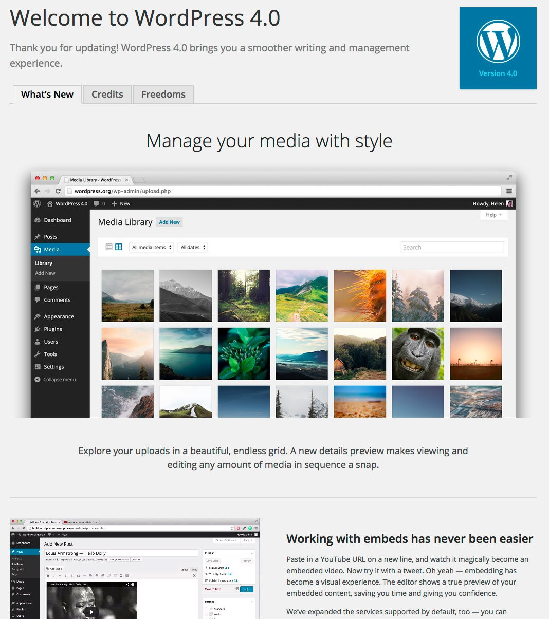 WordPress 4.0 About Screen