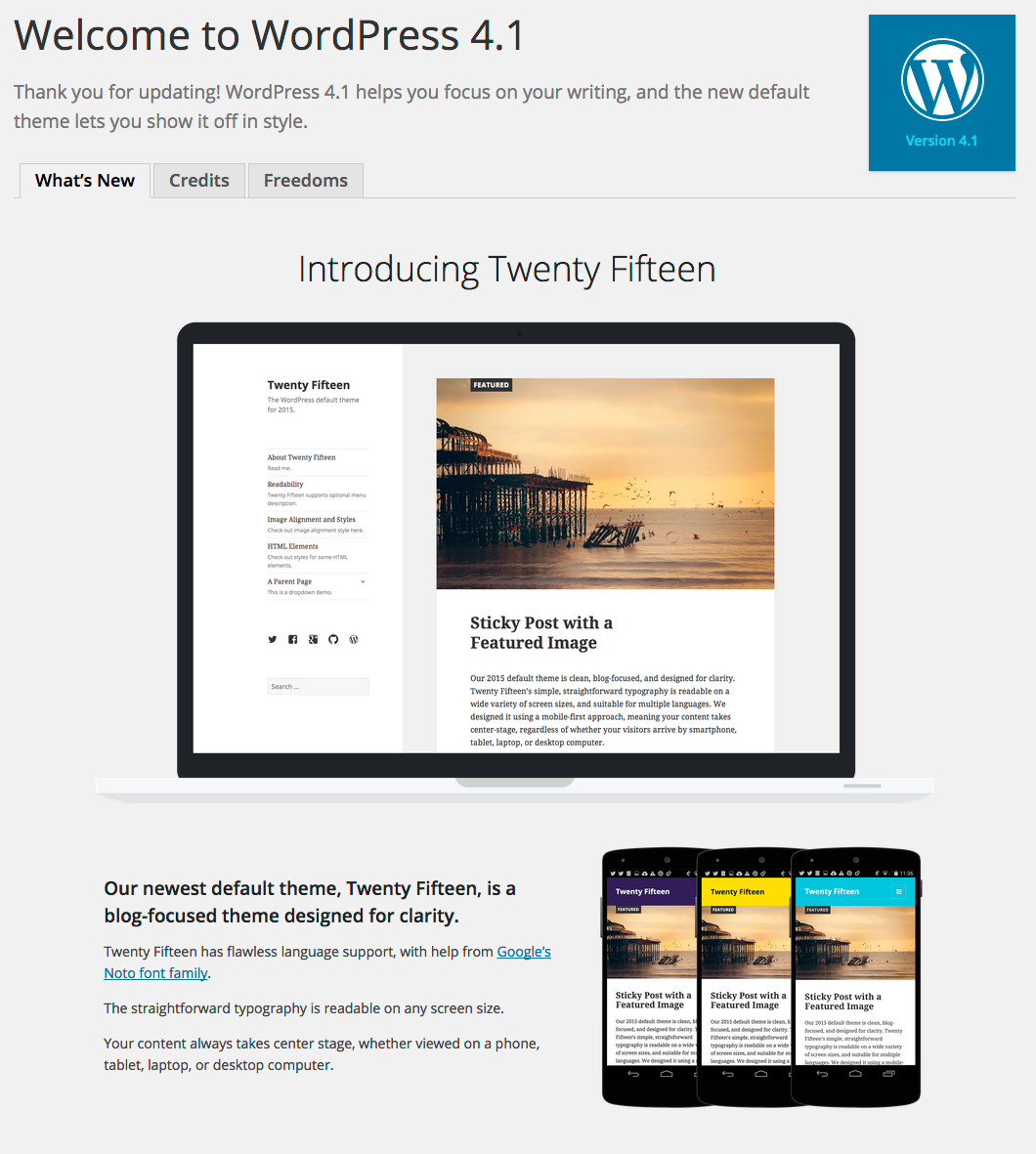 The WordPress 4.1 About Screen